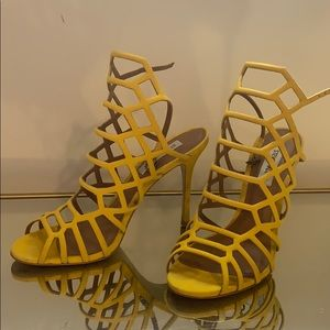 Steve Madden Yellow caged heels